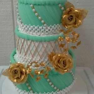 Other - Mint Green and Gold Baby Shower 3 Tier Diaper Cake